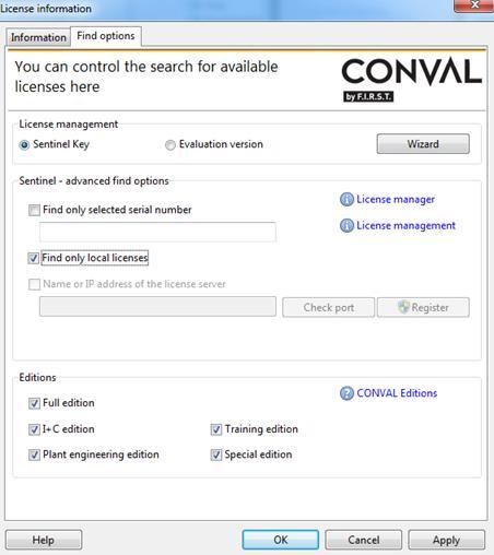CONVAL LICENSING - SENTINEL KEYS